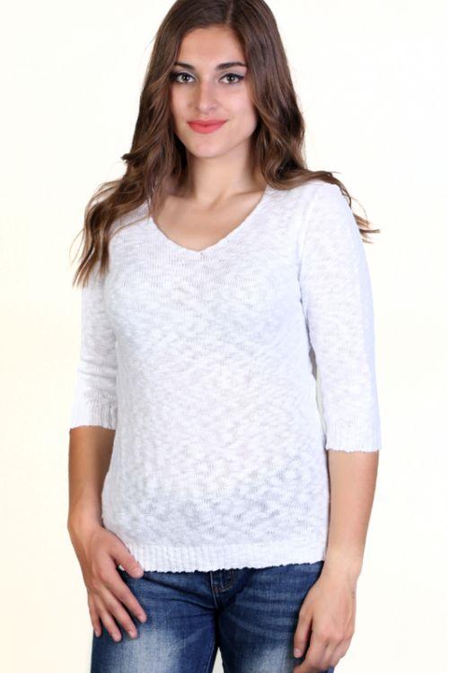 Μπλούζα Βαμβακερή με VE  λαιμόκοψη - Λευκό KAL35
