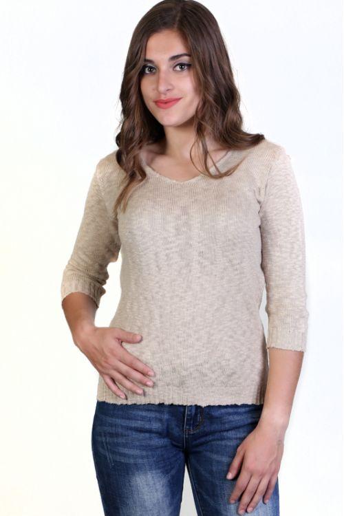 Μπλούζα Βαμβακερή με VE  λαιμόκοψη - Μπεζ KAL36