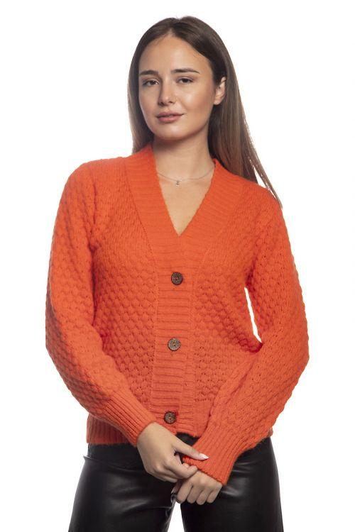 Ζακέτα VE με κουμπιά-05867 Πορτοκαλί