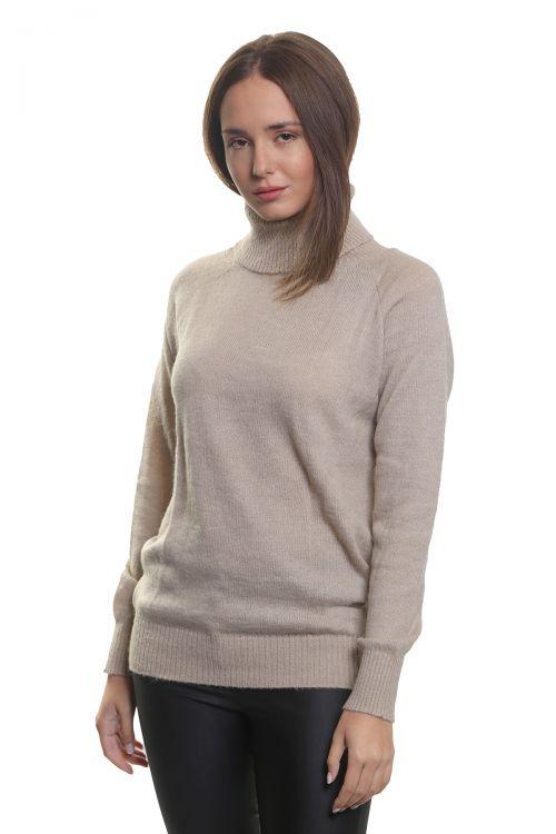 Μπλούζα μοχέρ με όρθιο λαιμό- Μπεζ 3574