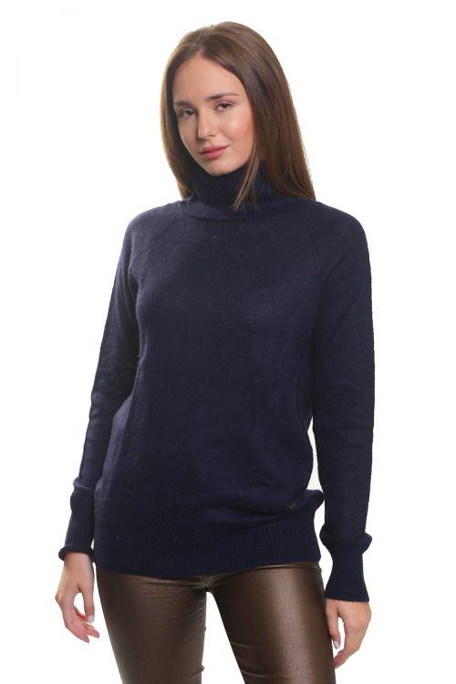 Μπλούζα μοχέρ με όρθιο λαιμό-Μπλε σκούρο 3697
