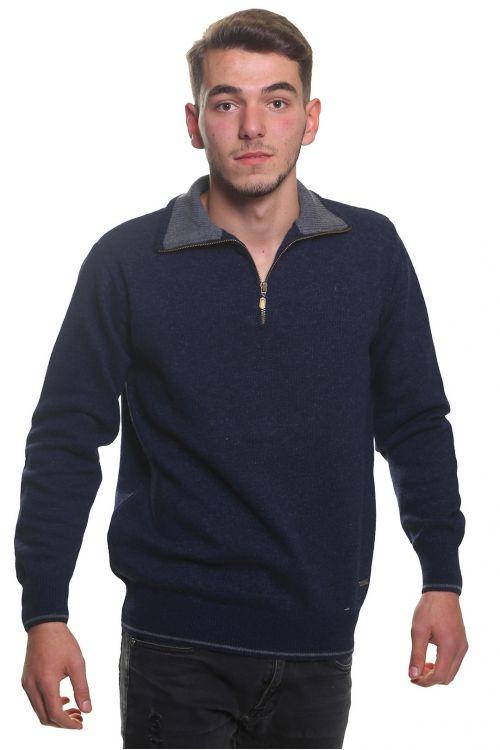 Μπλούζα αντρική  με γιακά και φερμουάρ -  Μπλε 3752A