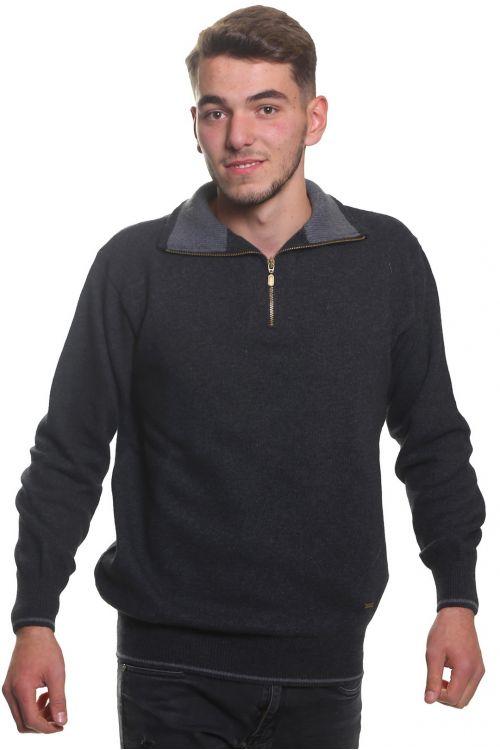 Μπλούζα αντρική με γιακά και φερμουάρ - Γκρι 9118A