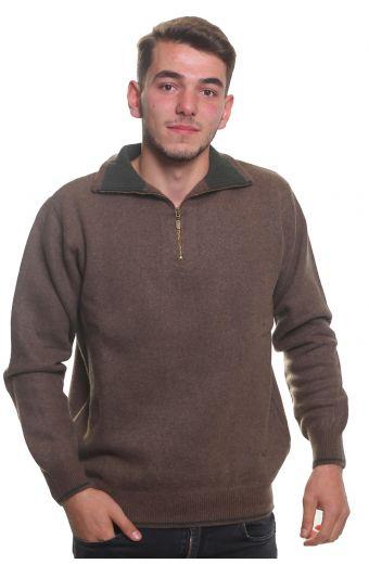 Μπλούζα αντρική  με γιακά και φερμουάρ -  Καφέ ανοιχτό  3770A
