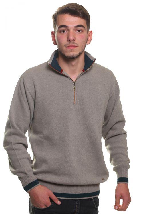 Μπλούζα αντρική  με γιακά και φερμουάρ - Μπεζ 3777A