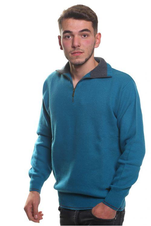 Μπλούζα αντρική  με γιακά και φερμουάρ -  Πετρόλ 3783A