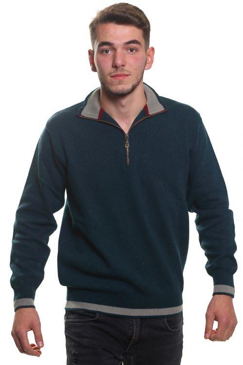 Μπλούζα αντρική  με γιακά και φερμουάρ - Κυπαρισσί 3790A