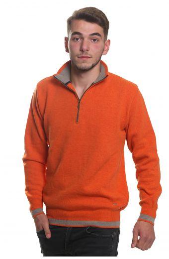 Μπλούζα αντρική  με γιακά και φερμουάρ -  Πορτοκαλί 3795A