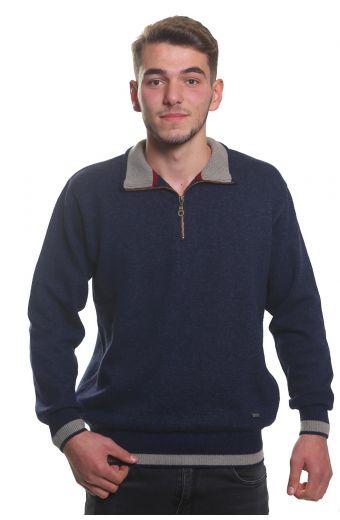 Μπλούζα αντρική  με γιακά και φερμουάρ -  Μπλε 3805A