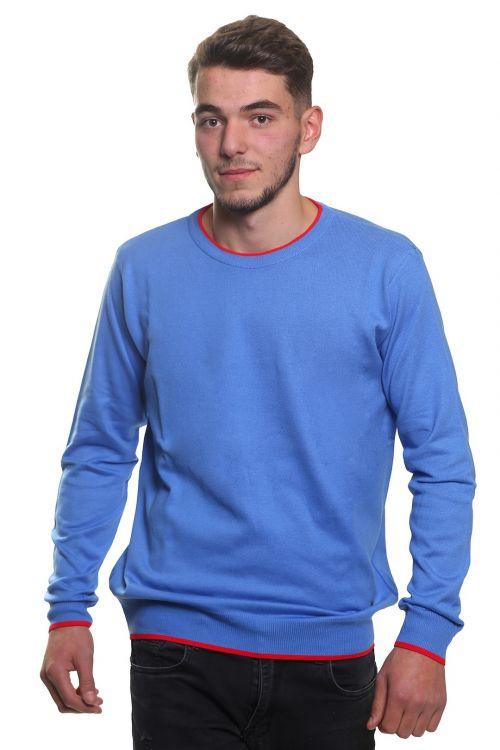 Μπλούζα αντρική με λαιμόκοψη - Μπλε 3829M