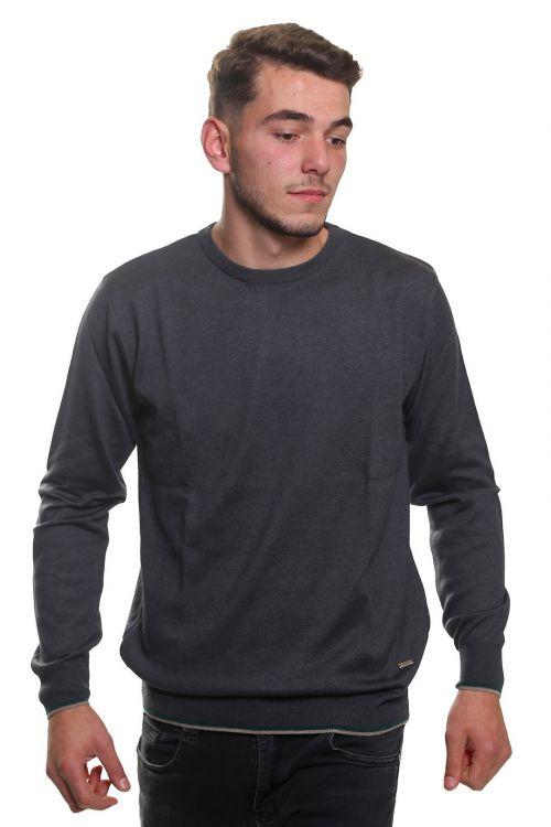 Μπλούζα αντρική βαμβακερή με λαιμόκοψη - Γκρι-πράσινο σκούρο 3836M