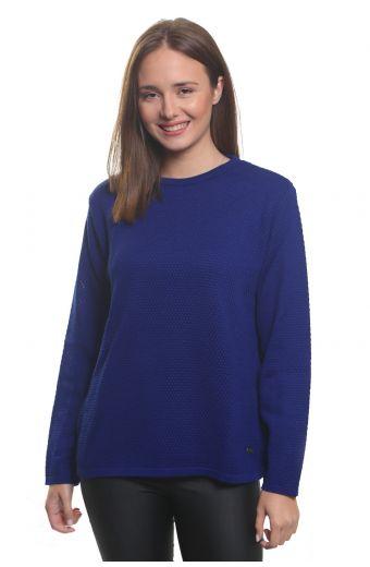 Μπλούζα με λαιμόκοψη, κλασική εφαρμογή- Μπλε 3546M