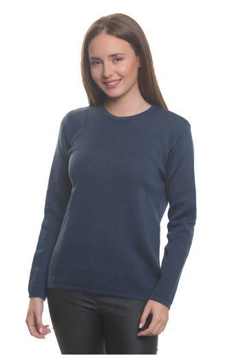 Μπλούζα με λαιμόκοψη, κλασική εφαρμογή- -Χρώμα Μπλε_ραφ 3600M
