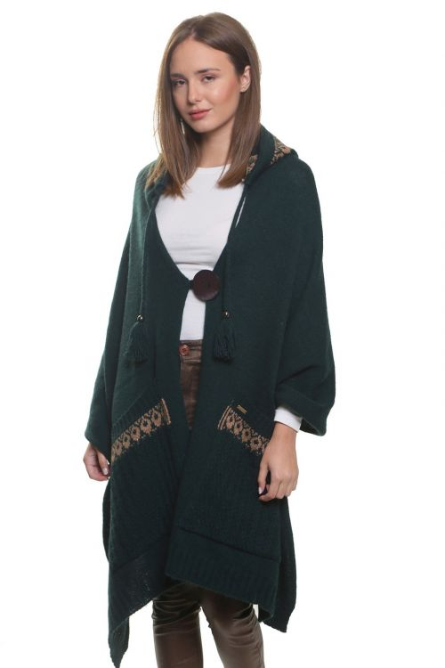 Εσάρπα με κουμπί,κουκούλα και τσέπες, απαλή και ζεστή - Κυπαρισσί 96854Ε
