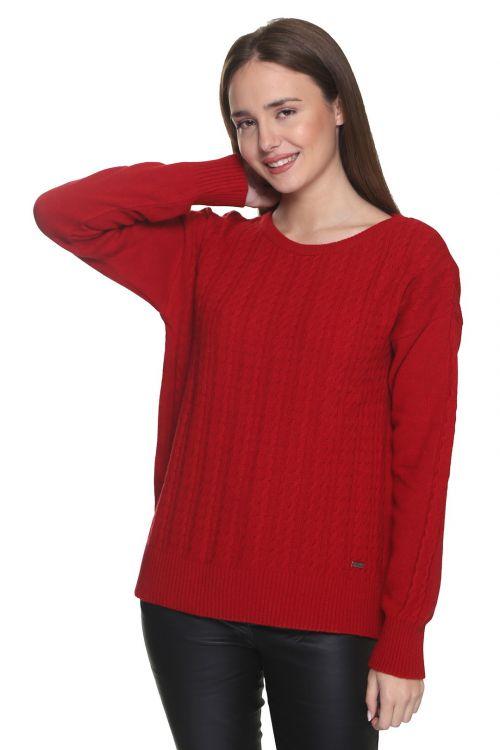 Μπλούζα  λαιμόκοψη με κοτσίδες - Κόκκινο 9232M