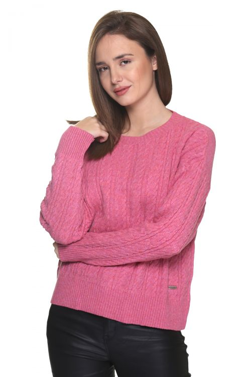 Μπλούζα  λαιμόκοψη με κοτσίδες - Ροζ 9252M