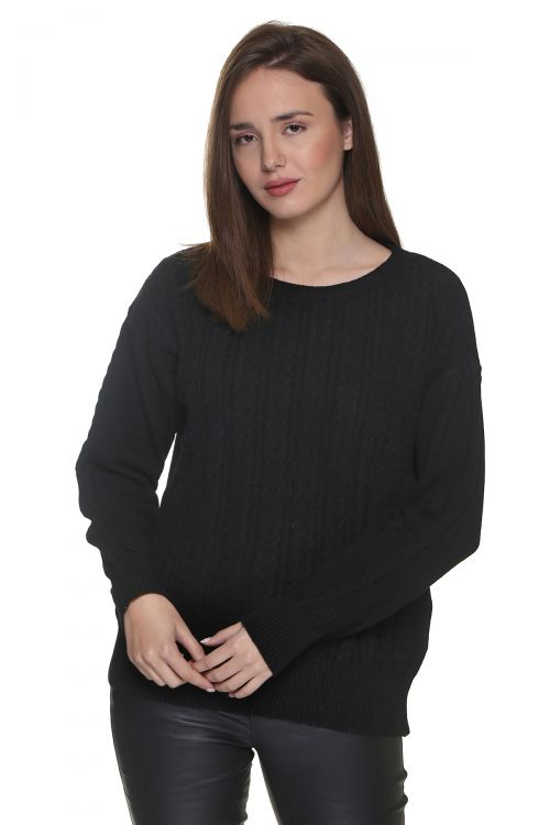 Μπλούζα  λαιμόκοψη με κοτσίδες -Μαύρο 9262M