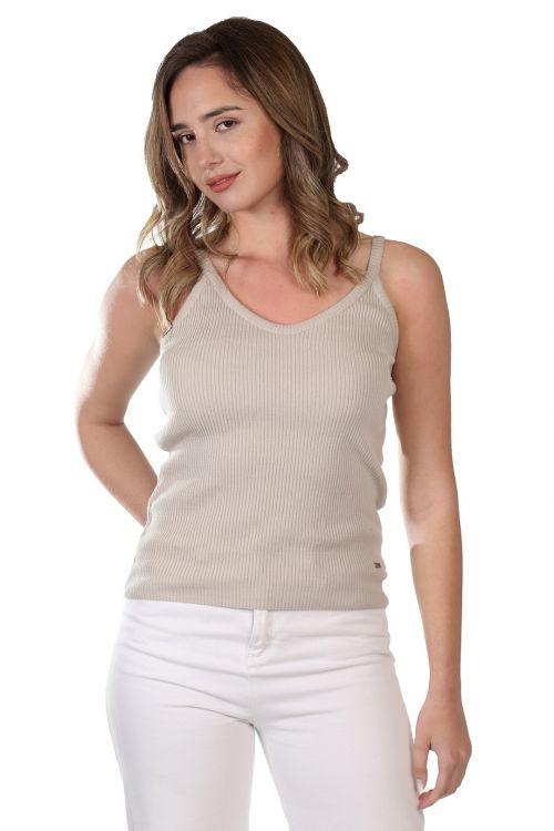 Μπλουζάκι ριπ τιράντα - Μπεζ 52131