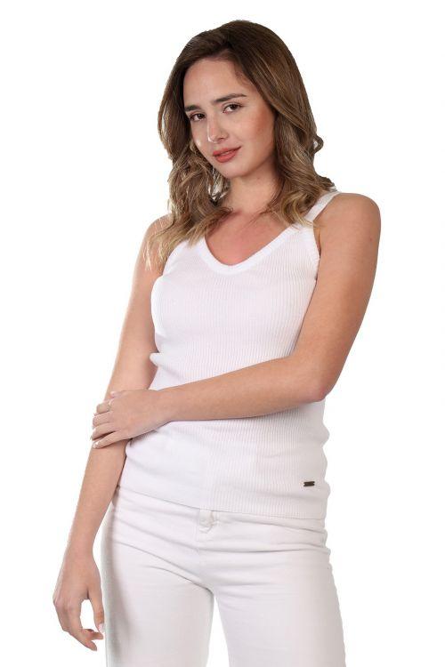 Μπλουζάκι ριπ τιράντα - Λευκό 52161