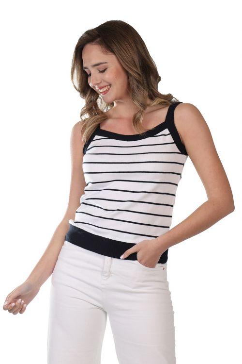 Μπλουζάκι ριγέ τιράντα - Λευκό 53161