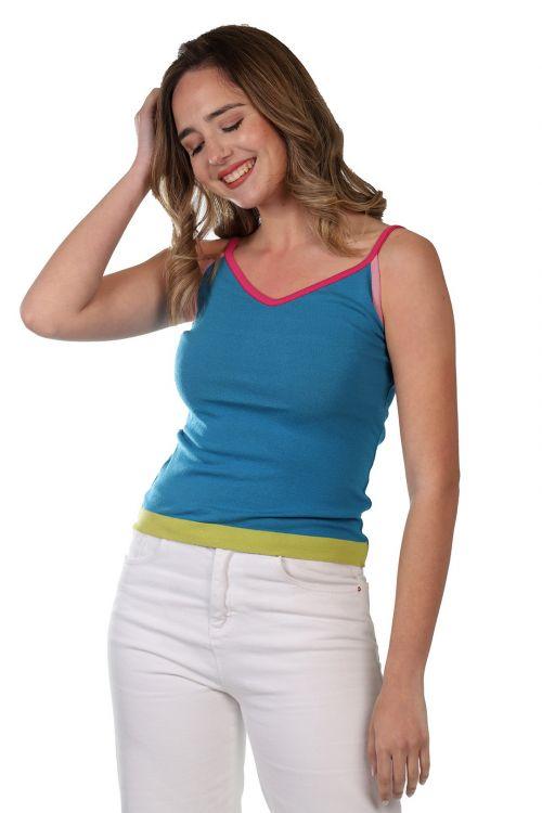 Μπλουζάκι  τιράντα - Πετρόλ 52921
