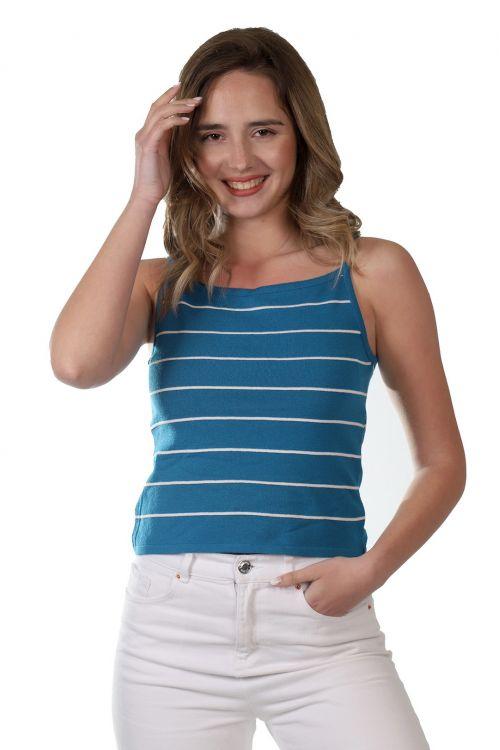 Μπλουζάκι ριγέ τιράντα - Πετρόλ 52821