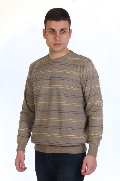 Μπλούζα αντρική με ρίγες και λαιμόκοψη -μπεζ 9041A