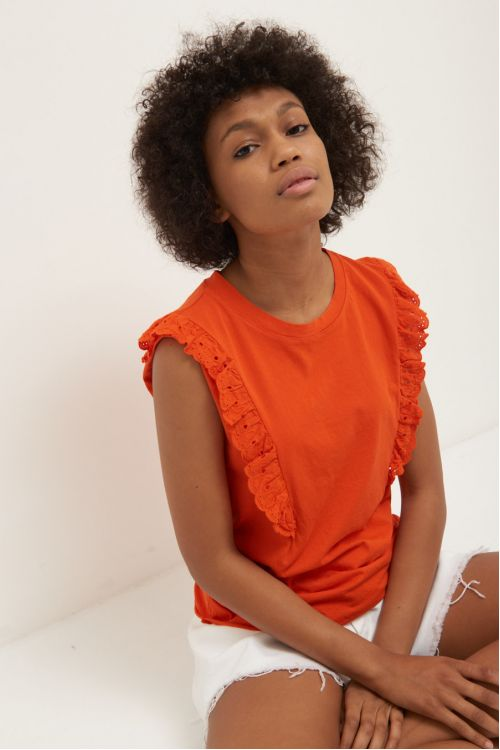 Μπλούζα με βολάν -πορτοκαλί 52332