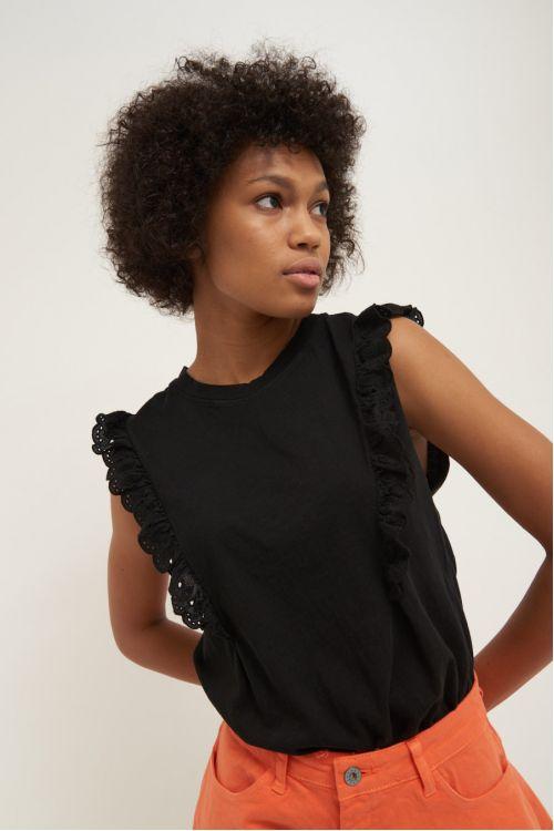 Μπλούζα με βολάν -Μαύρο 52327