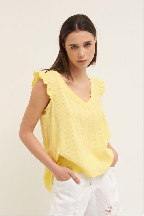 Μπλούζα  V -  Κίτρινο 52319