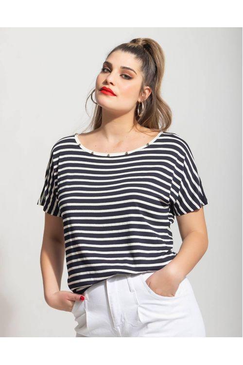 Μπλούζα με ρίγες  -μαύρο 501019M