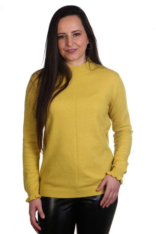Μπλούζα με διακριτικό βολάν στο μανίκι - κίτρινο 0545M