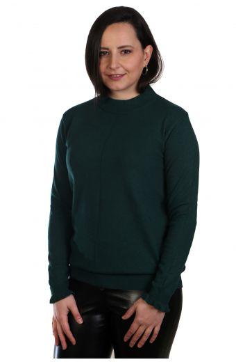 Μπλούζα με διακριτικό βολάν στο μανίκι - κυπαρισσί 0570M