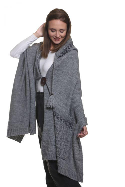 Εσάρπα με κουμπί, κουκούλα και τσέπες, απαλή και ζεστή - Γκρι 96851Ε