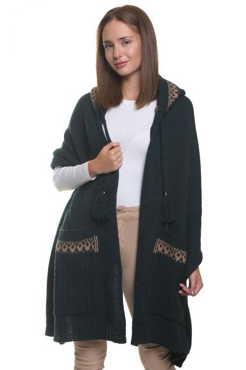 Εσάρπα με κουκούλα και τσέπες, απαλή και ζεστή - Κυπαρισσί 96854Ε
