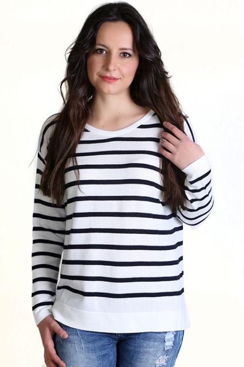Μπλούζα βαμβακερή με ρίγες- χρώμα λευκό 2916R