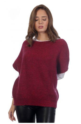 Αμάνικη μπλούζα-3763A Μπορντώ