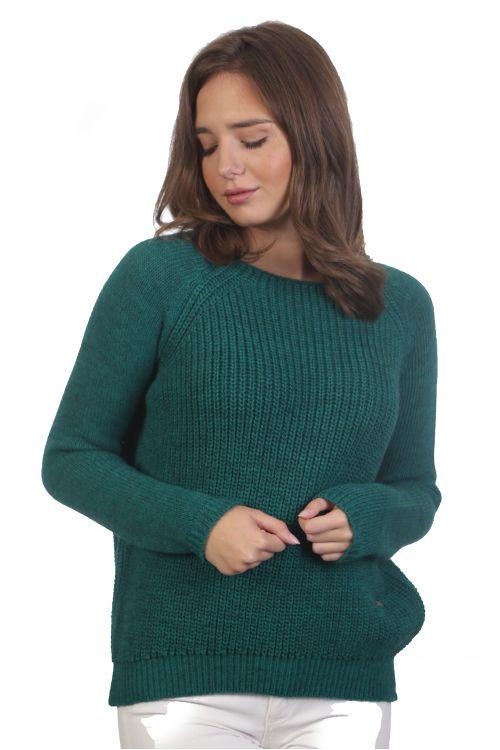 Πουλόβερ απαλό με λαιμόκοψη- Πράσινο 4005