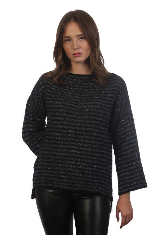 Μπλούζα πλεκτή πολύ απαλή με διακριτικό μεταλιζέ νήμα -Μαύρο 4296