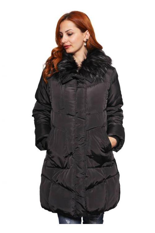 Μπουφάν μακρύ με γούνινο γιακά- μαύρο 702019M