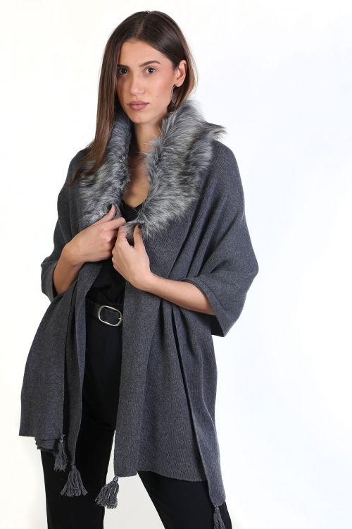 Εσάρπα μάλλινη με γούνινο γιακά απαλή και ζεστή - Γκρι  8610Ε