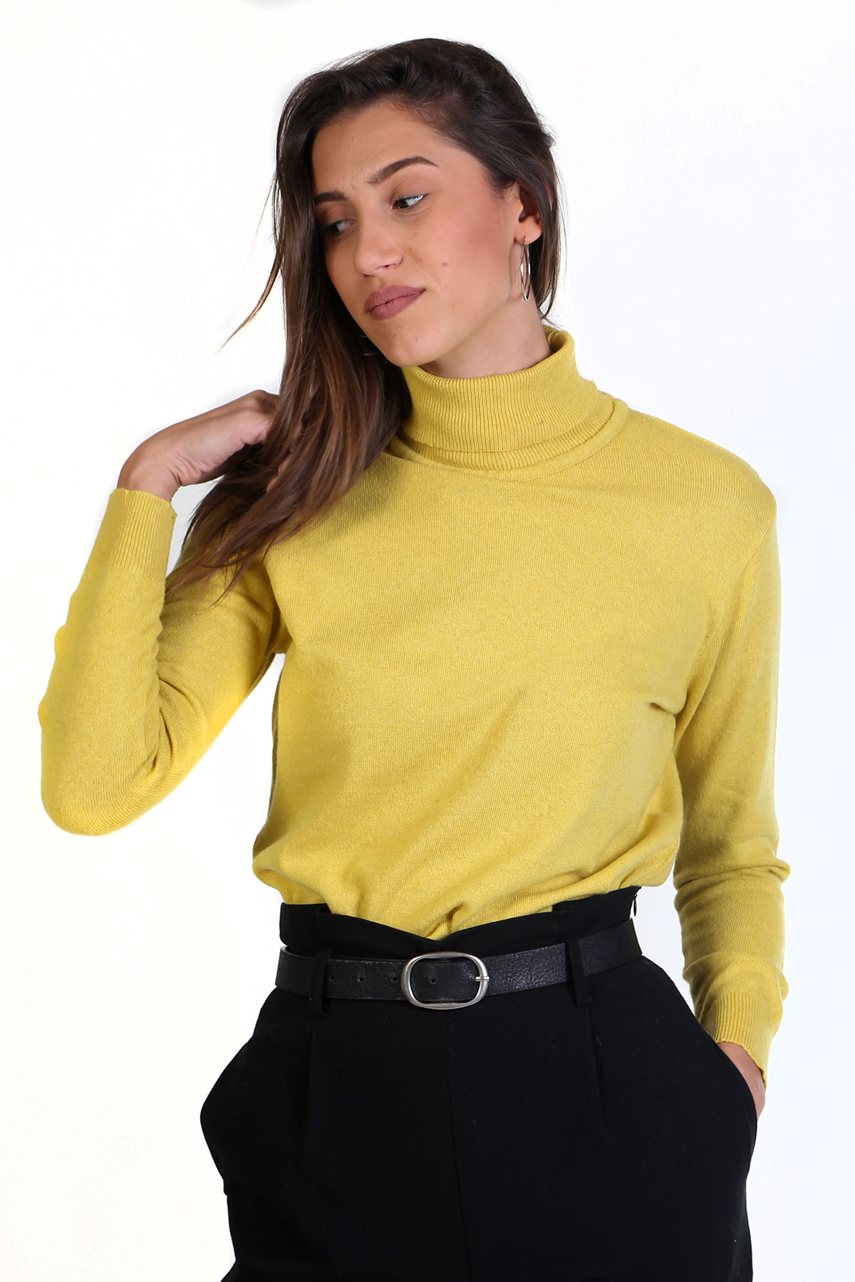 Πλεκτή μπλούζα με ζιβάγκο- Κίτρινο 8645Z 84021e3b984