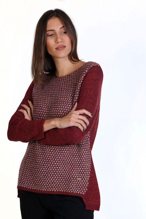 Μπλούζα με λαιμόκοψη, μάλλινη - Μπορντώ  8657M