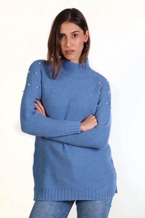 Μπλούζα με μαλλί - Γαλάζιο 8661M