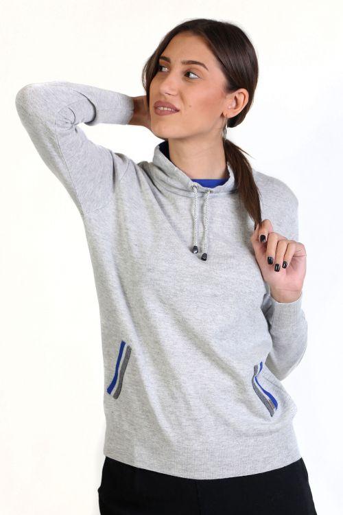 Μπλούζα με κορδόνι ασημί στο λαιμό- Γκρι ανοιχτό 8674M