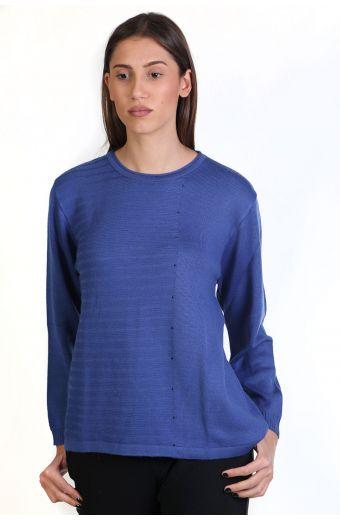 Μπλούζα με λαιμόκοψη, κλασική εφαρμογή- -Χρώμα Μπλε_μωβ 8716M