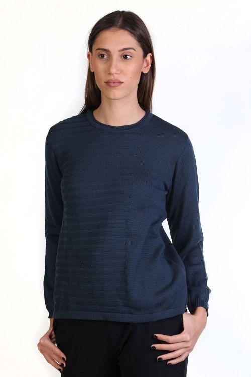Μπλούζα με λαιμόκοψη, κλασική εφαρμογή- -Χρώμα Μπλε_ραφ 8720M