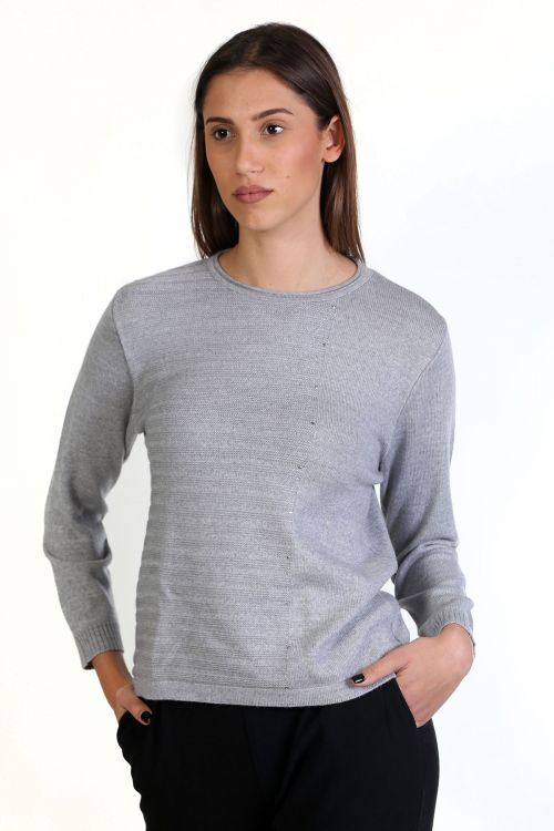 Μπλούζα με λαιμόκοψη, κλασική εφαρμογή- -Γκρι 8727M