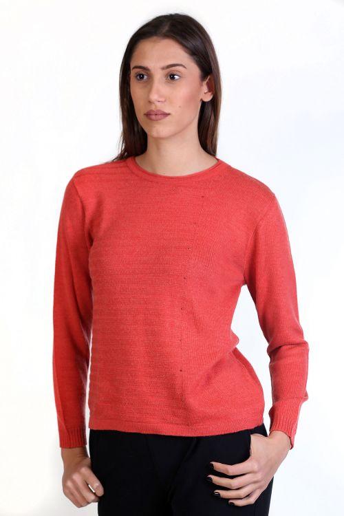 Μπλούζα με λαιμόκοψη, κλασική εφαρμογή- -κοραλί 8731M