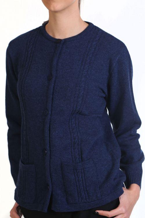 Ζακέτα με λαιμόκοψη , κλασική εφαρμογή- μπλε 8765Z